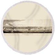 New York City, 1840 Round Beach Towel