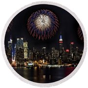 New York City Celebrates The 4th Round Beach Towel by Susan Candelario