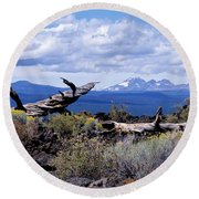 Newberry Lava Beds Round Beach Towel