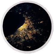 Night Time Satellite Image Of Chicago Round Beach Towel