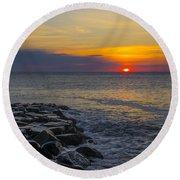North Wildwood Sunrise Round Beach Towel