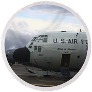 Nose Cone Detail On A Lc-130h Aircraft Round Beach Towel