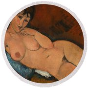 Nude On A Blue Cushion Round Beach Towel