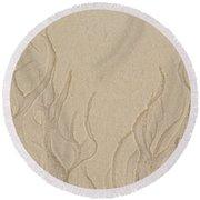 Ocean Sand Art Below Round Beach Towel
