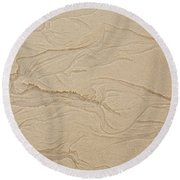 Ocean Sand Art Hearts Left Side Round Beach Towel