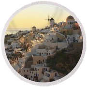 Oia At Sunset Santorini Cyclades Greece  Round Beach Towel