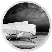 Old Glasses On Desk Round Beach Towel
