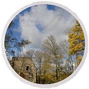 Old Sigulda Castle Ruins Round Beach Towel