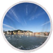 Old Village Sestri Levante Round Beach Towel