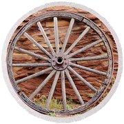 Old Wagon Wheel 2 Round Beach Towel