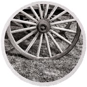Old Wagon Wheel On Cart Round Beach Towel