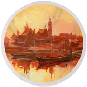Old Warsaw - Wisla River Round Beach Towel
