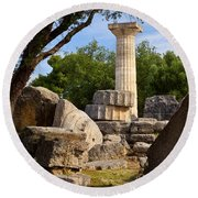 Olympia Ruins Round Beach Towel