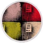 One Way Street Round Beach Towel