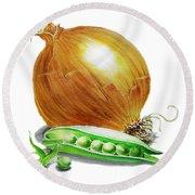 Onion And Peas Round Beach Towel