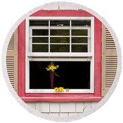 Open Window With Yellow Flower In Vase Round Beach Towel