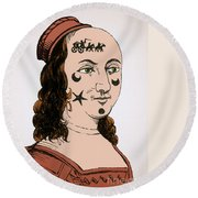 Ornamental Patches On Face 17th Century Round Beach Towel