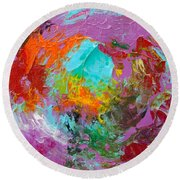 Out In The Garden Round Beach Towel