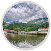 Overlooking Chimney Rock And Lake Lure Round Beach Towel