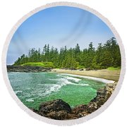 Pacific Ocean Coast On Vancouver Island Round Beach Towel