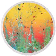Paint Number Ninteen Diptych Round Beach Towel