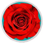 Painting Of Single Rose Round Beach Towel