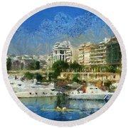 Panoramic Painting Of Pasalimani Port Round Beach Towel