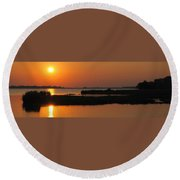 Panoramic Sunset Round Beach Towel