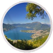 Panoramic View Over An Alpine Lake Round Beach Towel