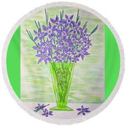 Parrot Green Depression Glass Round Beach Towel