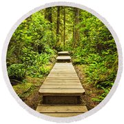Path In Temperate Rainforest Round Beach Towel