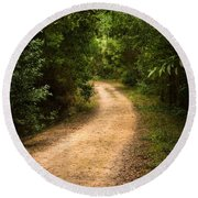 Pathway In The Woods Round Beach Towel