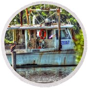 Pelican And Fishing Boat Round Beach Towel