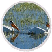 Pelicans In Hayden Valley Round Beach Towel
