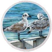 Pier Gulls Round Beach Towel