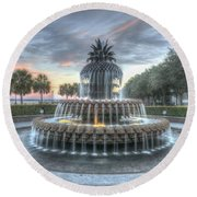Majestic Sunset In Waterfront Park Round Beach Towel