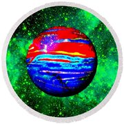 Planet Disector Red 1 Round Beach Towel
