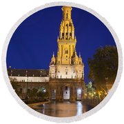 Plaza De Espana Tower In Seville Round Beach Towel