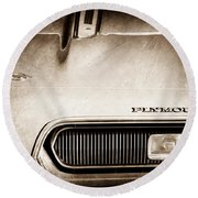 Plymouth Barracuda Grille Emblem Round Beach Towel