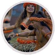 Polynesian Dancers Round Beach Towel