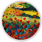 Poppies In Tuscany  Round Beach Towel