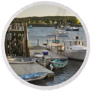 Port Clyde Maine Boats And Harbor Round Beach Towel