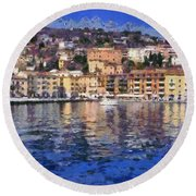 Porto Stefano In Italy Round Beach Towel
