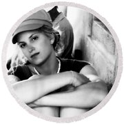 Portrait In Black And White Round Beach Towel