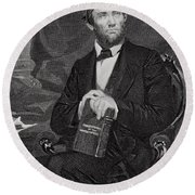 Portrait Of Abraham Lincoln Round Beach Towel by Alonzo Chappel