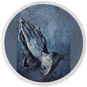 Praying Hands Round Beach Towel by Albrecht Durer