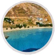 Psili Ammos Beach In Serifos Island Round Beach Towel