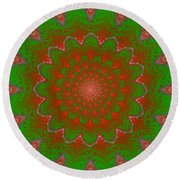 Psychedelic Spiral Vortex Green And Red Fractal Flame Round Beach Towel