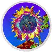 Psychedelic Sunflower Round Beach Towel