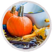 Pumpkins Decorations Round Beach Towel